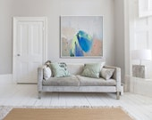 "large ABSTRACT GICLÉÉ PRINT, print of painting, white, beige, blue, ""Blush ii"""