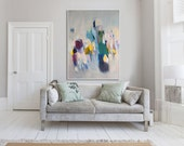 "large green ABSTRACT Giclée PRINT of painting with light blue and pink  ""Shimmer Shimmer 2"""