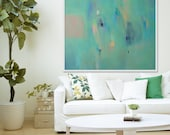 "Large Green abstract Print of painting.  modern light blue giclée print, ""The Shepherd Haze Green"""