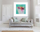 "GICLÉE Print, abstract print of PAINTING, green, pink, abstract, ""Pot Series"""