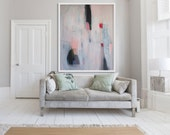"""Extra large ABSTRACT Print, cream, white, pink, mint green, modern GICLÉE print, expressionist """"Lock RIng No 8"""""""