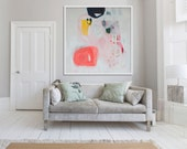 "abstract ART, giclée print of painting, white, pink, yellow, black, ""Magic Profile"""