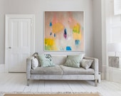 "ABSTRACT Print , large print, beige yellow and blue, abstract art  ""Out of Her Loop 2"""