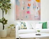 "print of painting, LARGE ABSTRACT GICLÉE, beige, pink, "" Hidden Snapshot 2"""