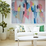 """large ABSTRACT PRINT, Giclée print of white, blue, pink,painting, modern print  """"Pink and Jovial"""""""