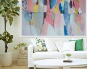 "large ABSTRACT PRINT, Giclée print of white, blue, pink,painting, modern print  ""Pink and Jovial"""