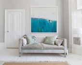 "large Gicléé PRINT of painting, blue, white, abstract print ""Lavender and Limestone"""