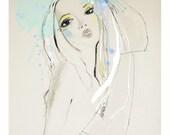 "Fashion ILLUSTRATION, GICLÉE print,fashion drawing,print, make up, blue, pale, chic, portrait, drawing, ""Blue"""
