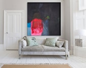 "Black, pink and red abstrac print of t painting with blue.Giclée print by Lola Donoghue ""Some Say Love"""