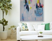 "Giclee Print of abstract painting with blue and pink, modern painting ""Tea Time"""