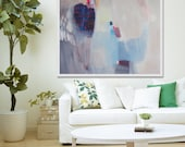 "large ABSTRACT Print, Giclée print of white, blue, pink painting, modern print  ""Tomasa"""