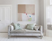 """Giclee print of Large abstract painting,  white and beige modern painting, PRINT, expressionist painting """"Blush iii"""""""