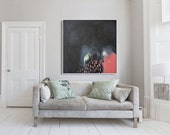 """black ABSTRACT print,GICLÉE print, pink, salmon, expressionist, """"Celestial Sky"""""""