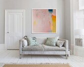 """LARGE print of PAINTING, giclée print, abstract print, pink, yellow, """"Eminently Pink'"""