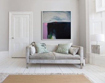 """large print, print of abstract painting with navy, blue, Modern giclée print by lola donoghue """"Stormbreak"""""""