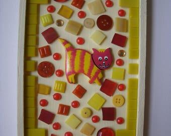 Cat Mosaic Yellow