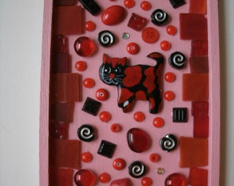 Cat Mosaic Red