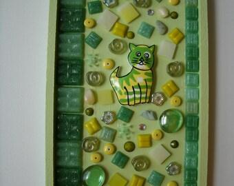 Cat Mosaic Green