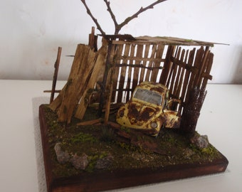 Dollhouse shed with Volkswagen Beetle/diorama