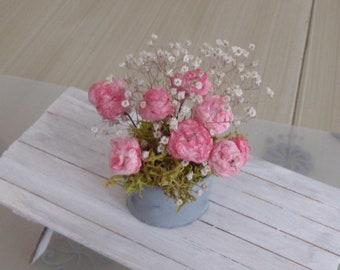 Dollhouse pink roses in a galvanized pot 1:12 scale