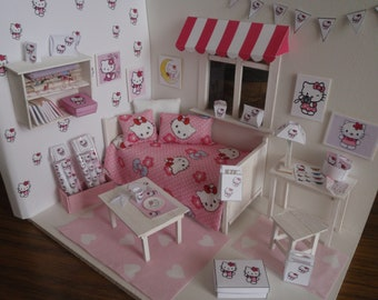 Dollhouse kitty room OOAK Doll diorama 1:12 scale (also Lati yellow,middle blythe, pulip)