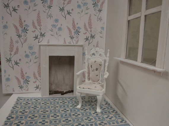 Dollhouse Wallpaper With Lupins White Background Pdf 1 12 Etsy