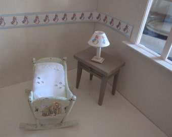 Dollhouse shabby chic antique cradle and lamp with rabbit,  French style 1:12 scale