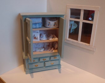 Dollhouse cupboard filled with rabbit things, French dollhouse collectible accessory, 1:12th scale