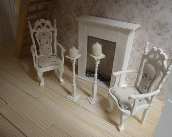 Dollhouse shabby arm chairs, French style 1:12 scale