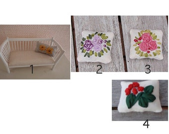 Dollhouse miniature 1:12 scale Pillow ribbon embroidery