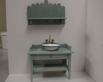 Dollhouse bathroom vanity/wash stand and shelf  1:12 scale French shabby chic style
