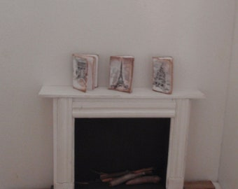 Dollhouse Paris 3 junk journals in a very French shabby chic style 1:12 scale