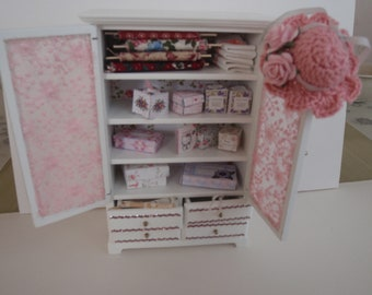Dollhouse cupboard filled with young girl things, French dollhouse collectible accessory, 1:12th scale