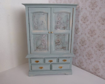 Dollhouse armoire/ cupboard  1:12 scale French shabby chic style