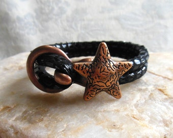 Licorice leather bracelet, black leather bracelet, copper starfish, copper open hook clasp, Cancun leather, black and copper