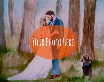 CUSTOM Wedding Painting From Your Photo; Wedding / Anniversary / Engagement / Bridesmaid Gift