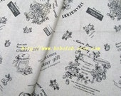 6360B - Cotton Linen Blend Fabric - Nature Lover 39 s Library (black) - by the yard