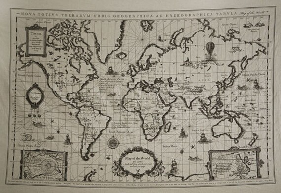 6901 retro cotton linen fabric antique world map 71cm x gumiabroncs Gallery