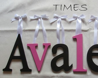 """Wooden Wall Letters - 8"""" Size - Painted - Times plus Various other Fonts - Gifts and Decor for Nursery - Home - Playrooms - Dorms"""