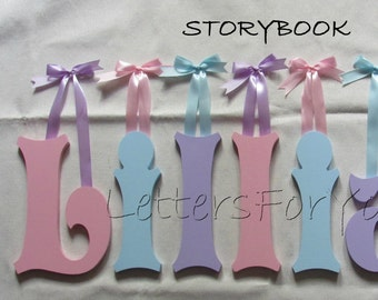 """Wooden Wall Letters - 8"""" Size - Painted - Storybook plus Various other Fonts - Gifts and Decor for Nursery - Home - Playrooms - Dorms"""