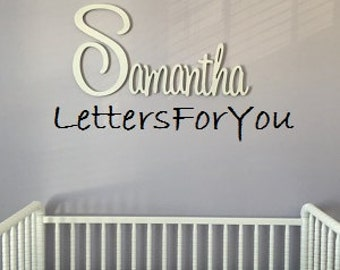 """Connected Wooden Name - 18"""" Size - Painted - Playful Font - Large Size - Wood Letters - Personalized - Wedding - Nursery Family Wall Decor"""