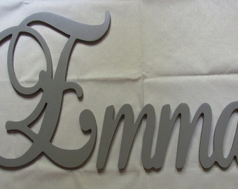 """Connected Wooden Name - 12"""" Size - Painted - Elegant Font - Small Size - Wood Letters - Personalized - Wedding - Nursery Family Wall Decor"""
