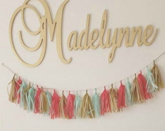 "Connected Wooden Name - Metallic Painted - Gold or Silver - 15"" Size - Medium Size Cursive - Wood Letters - Personalized Nursery Family"