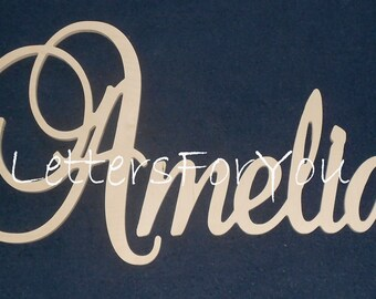 """Connected Wooden Name - 15"""" Size - Unpainted - Elegant Font - Medium Size - Wood Letters - Personalized - Wedding Nursery Family Wall Decor"""