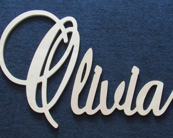 """Connected Wooden Name - 18"""" Size - Unpainted - Elegant Font - Large Size - Wood Letters - Personalized - Wedding - Nursery Family Wall Decor"""