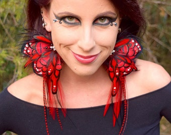 RED FAIRY Wing Feather Earrings