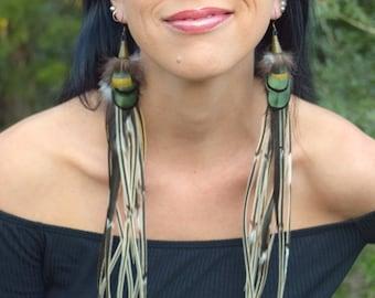GREENWOOD GYPSY Long Feather Earrings SALE