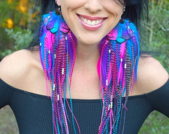 PIXIE TAILS Long Feather Beaded Earrings