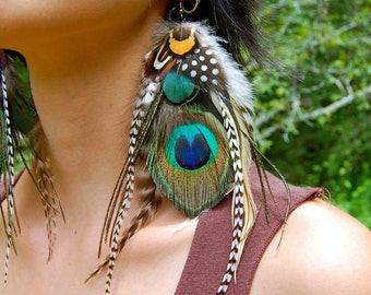 FOREST NYMPH Peacock Feather Earrings