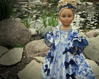 "Delft Dream -- 2 Pc. 18th Century Rococo Gown for 18"" Doll, i.e., American Girl, et al (aka Marie Antoinette Dress) with Reversible Skirt"